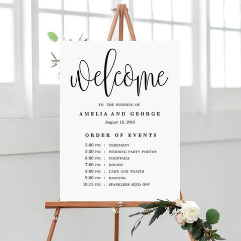 Printed Order of Events Wedding Sign