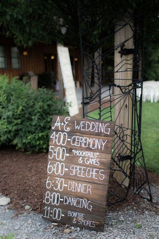 Rustic Wooden Wedding Schedule Sign