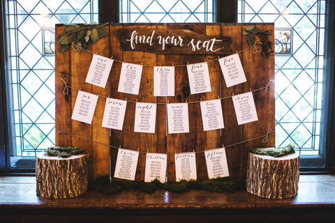 Find Your Seat - wooden wedding seating plan sign