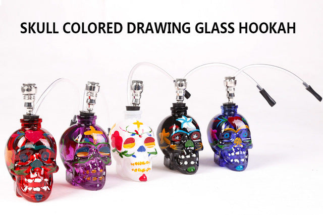 Colorful Skull Head Pipe with Tube Tobacco Holder Filter - POP Smoking