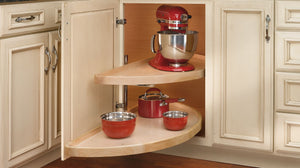 LAZY SUSAN HALF-MOON WOOD TWO SHELF BLIND CORNER PULL-OUT