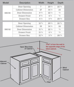 Tahoe White- Blind Base Corner Cabinet
