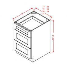 Shaker Cinder - 3 Drawer Base