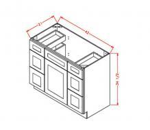 Shaker Cinder - Vanity Double Drawer Bases