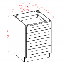 Shaker Antique White- 4 Drawer Base