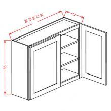 "Tahoe Dove- 36"" High Wall Cabinets-Double Door"