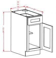 Shaker Cinder- Single Door Single Drawer Base