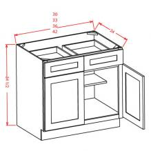 Shaker Espresso- Double Door Double Drawer Base