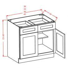 Shaker Cinder- Double Door Double Drawer Base