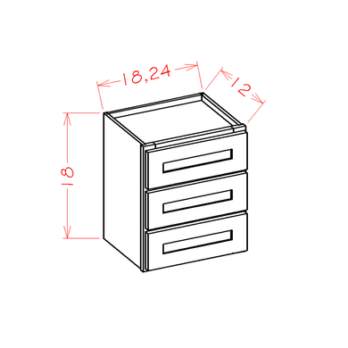 Shaker Cinder- Wall Three Drawer