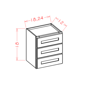 Shaker Grey- Wall Three Drawer