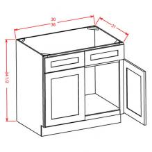 Shaker Espresso- Vanity Sink Bases-Double Door Double Drawer Front