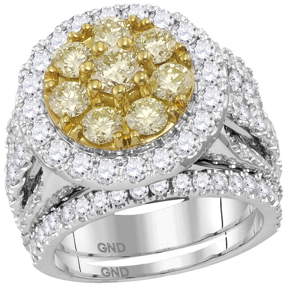 14kt White Gold Womens Round Yellow Diamond Halo Bridal Wedding Engagement Ring Band Set 4.00 Cttw