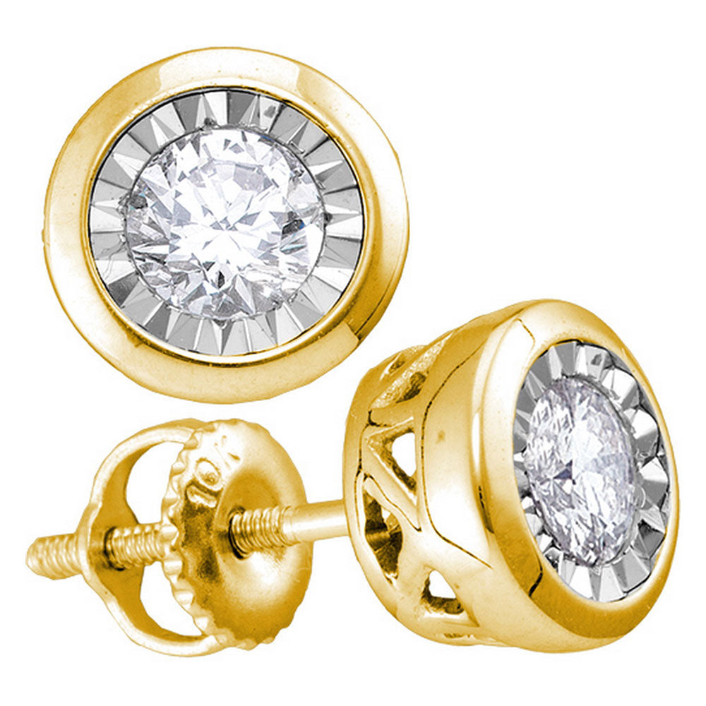 10kt Yellow Gold Womens Round Diamond Solitaire Screwback Stud Earrings 1/4 Cttw