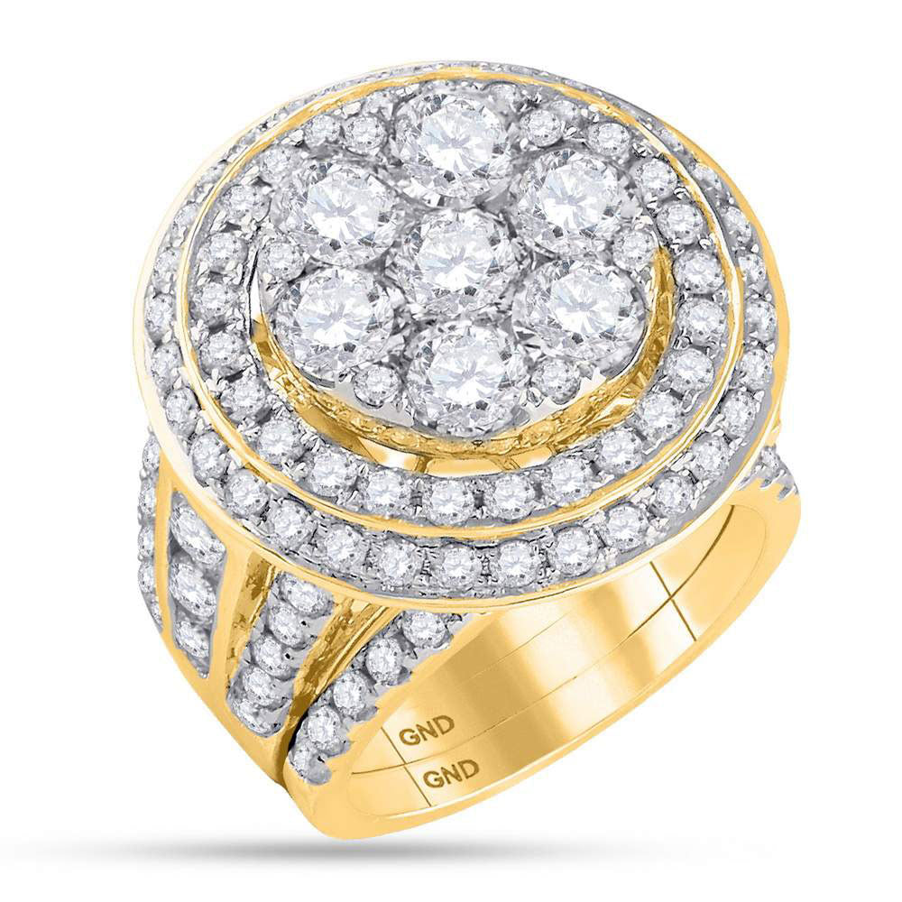 14kt Yellow Gold Womens Round Diamond Cluster Bridal Wedding Engagement Ring Band Set 7.00 Cttw