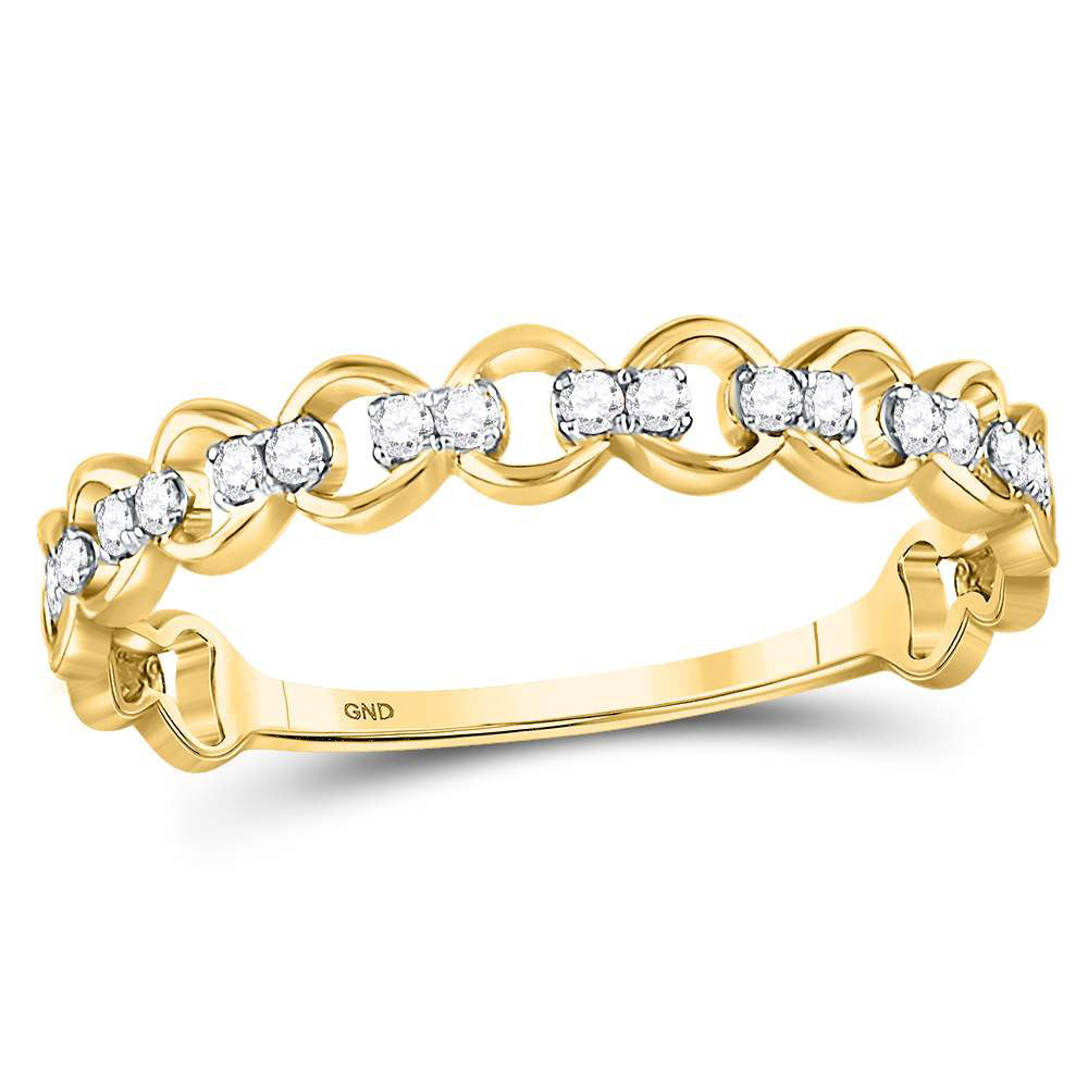 10kt Yellow Gold Womens Round Diamond Link Stackable Band Ring 1/8 Cttw