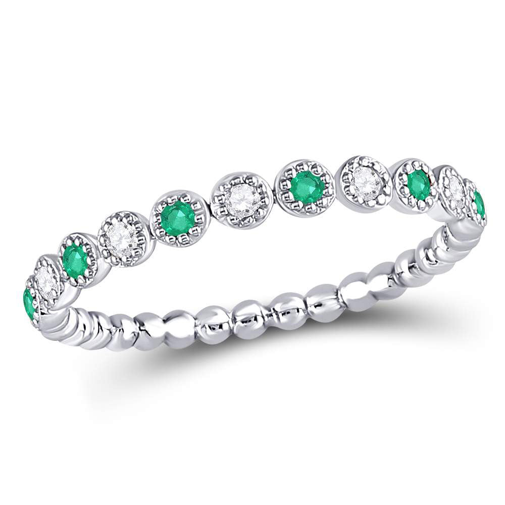 10kt White Gold Womens Round Emerald Diamond Dot Stackable Band Ring 1/6 Cttw