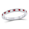 Stackable Band 10KW Gold Ruby and Diamond 128012