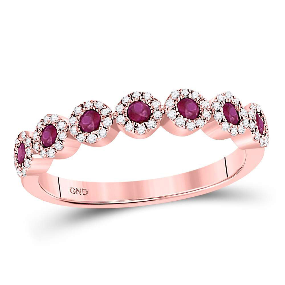 10kt Rose Gold Womens Round Ruby Halo Stackable Band Ring 1/2 Cttw