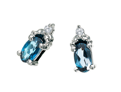 Blue Topaz Earrings 10KW Gold 128556 - Marc Richards Jewelry