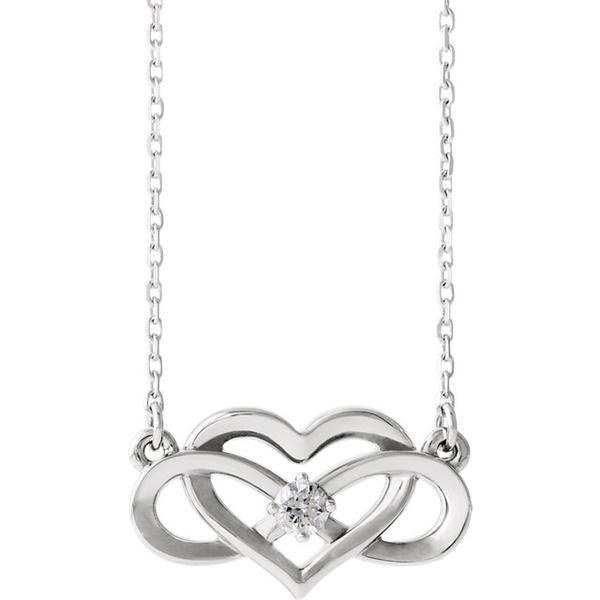 Silver Diamond Infinity Heart Necklace 86677 - Marc Richards Jewelry