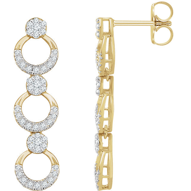 14K Diamond Accented Link Dangle Earrings 652706 Marc Richards Jewelry