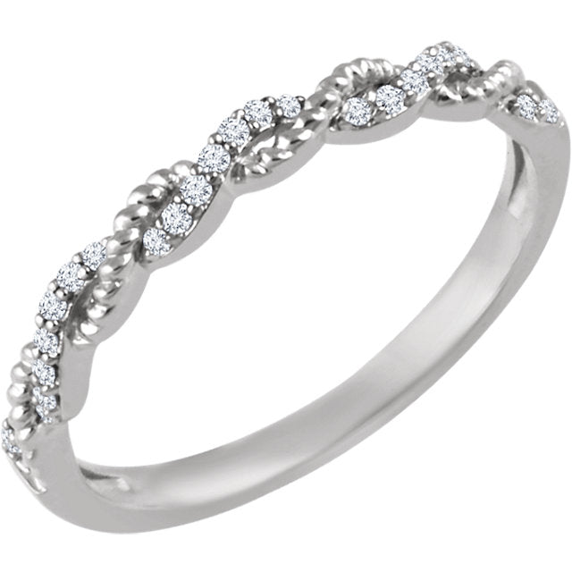 14K Yellow, Rose, or White Gold Stackable Rope Ring with Diamonds - Marc Richards Jewelry