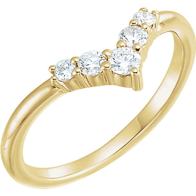 14K Gold Diamond V Ring 123361 - Marc Richards Jewelry