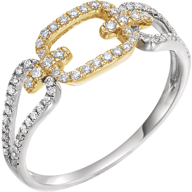 14K Gold Diamond Link Ring 652444 - Marc Richards Jewelry