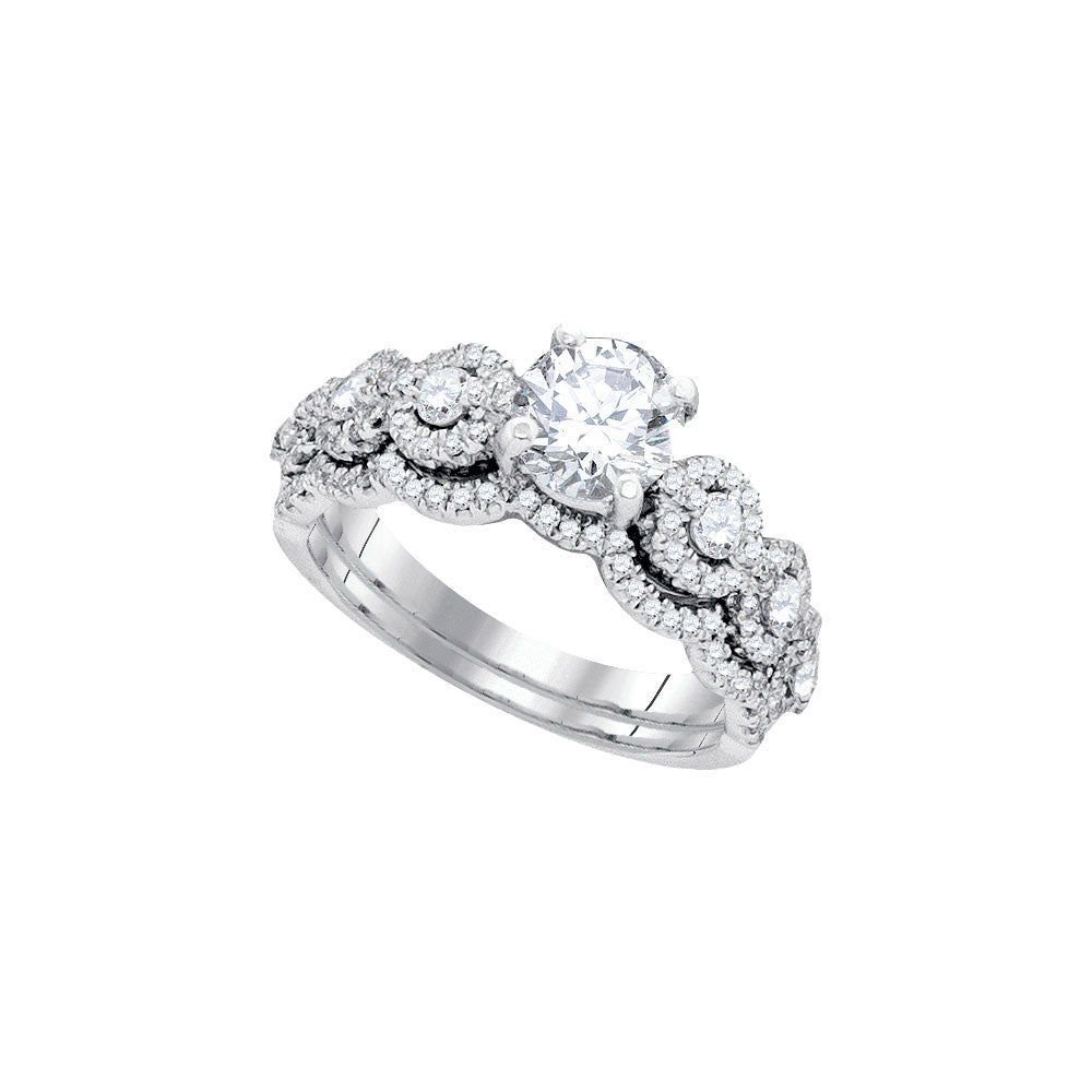14kt White Gold Womens Round Diamond Bridal Wedding Engagement Ring Band Set 1-5/8 Cttw