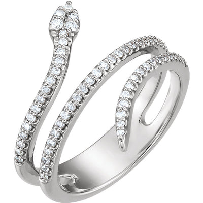 14K Yellow or White Gold Snake Ring with Diamonds - Marc Richards Jewelry