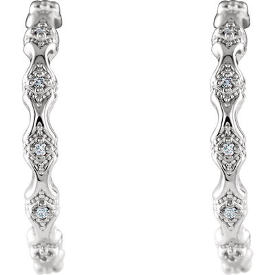 14K Diamond Hoop Earrings 86690 - Marc Richards Jewelry