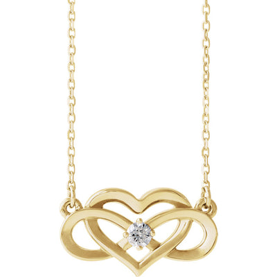 14K Gold Diamond Infinity Heart Necklace 86677 - Marc Richards Jewelry