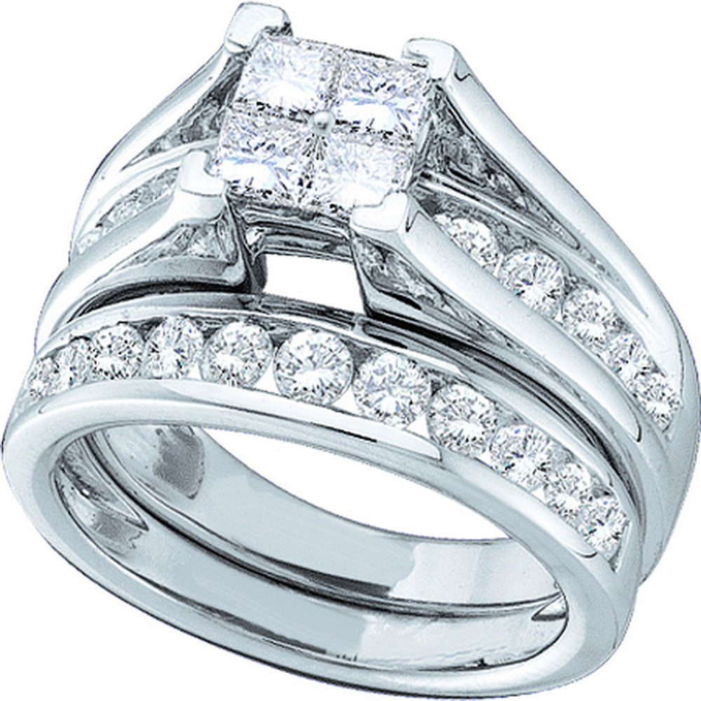 14kt White Gold Womens Princess Diamond Bridal Wedding Engagement Ring Band Set 5.00 Cttw