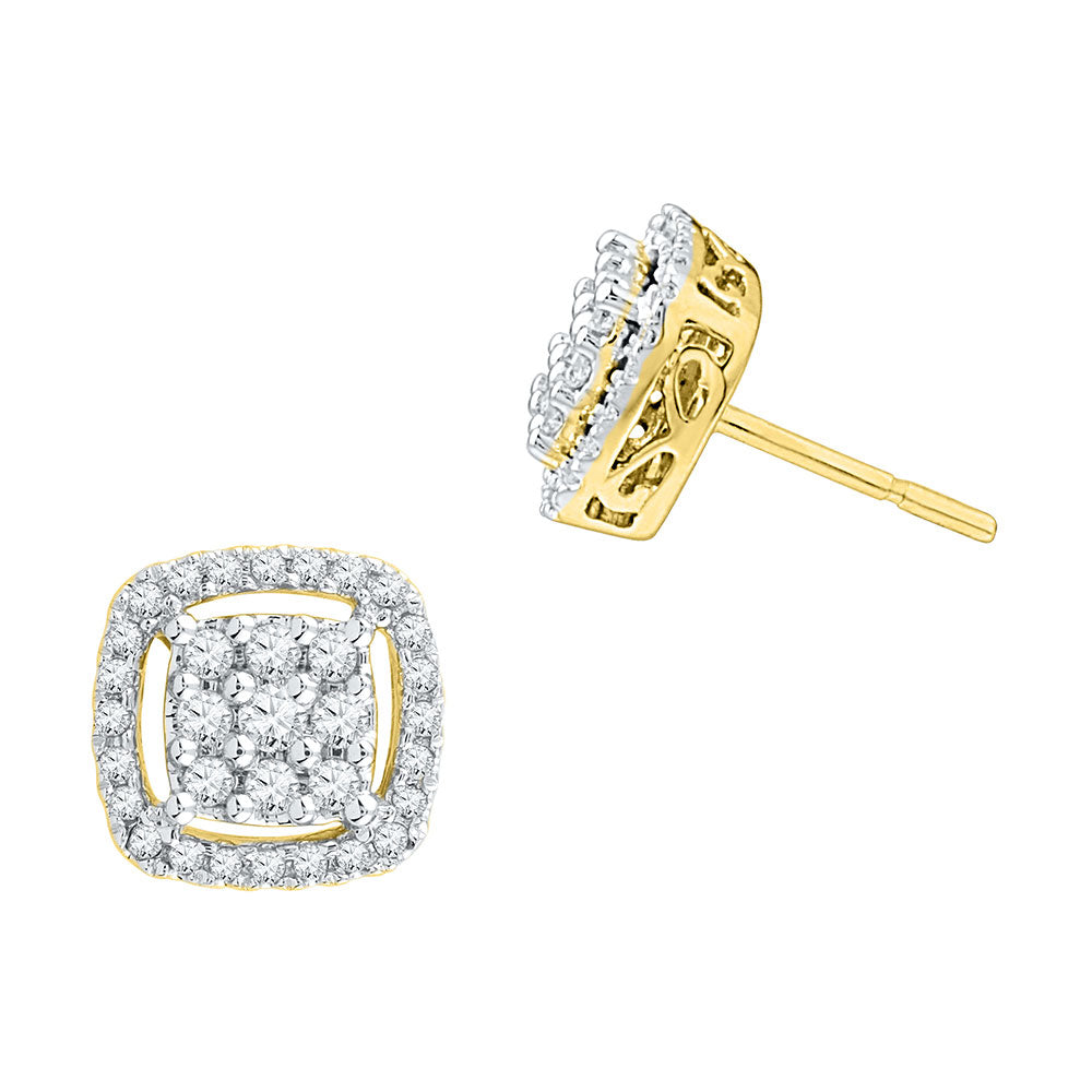 10kt Yellow Gold Womens Round Diamond Square Frame Cluster Earrings 1/2 Cttw