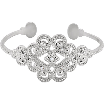 Silver with Diamonds Granulated Cuff Bracelet - Marc Richards Jewelry