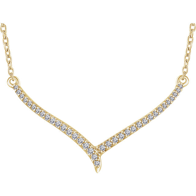 14K Gold Diamond V Necklace 652780 - Marc Richards Jewelry