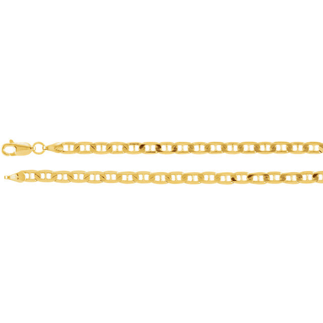 14K Gold 3.7mm Solid Anchor Chain
