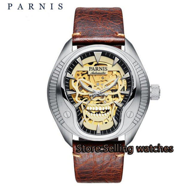2017 New Issued Mechanical Watches 40mm Skeleton Automatic Watch Designer Skull Luminous Dial Sapphire Crystal Men Watch