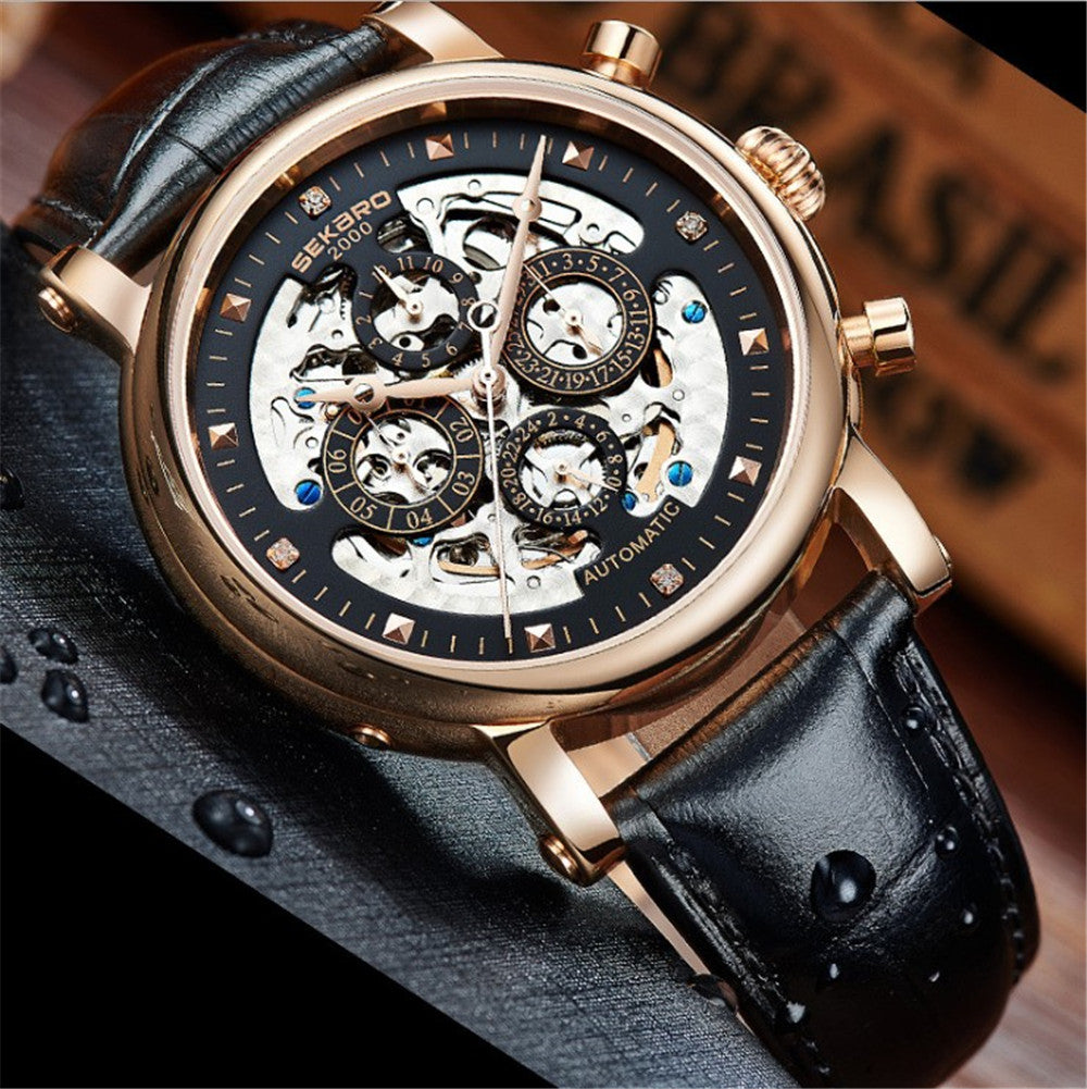 2017 Top Brand watches SEKARO Luxury Skeleton Automatic Mechanical Watches Men Antique Big Dial Sapphire waterproof Men Watches
