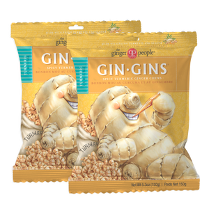 NEW FLAVOR! Gin Gins® Spicy Turmeric Ginger Chews, Large 5.3oz bag, Pack of 2  - FREE SHIPPING