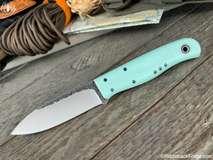 Fiddleback Forge Arete - Tiffany Blue G-10 - Fiddleback Forge Handmade Knife