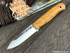 Fiddleback Forge Arete - Box Elder Burl - Fiddleback Forge Handmade Knife