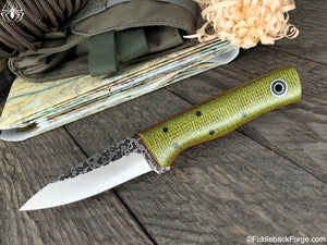 Fiddleback Forge Bear Cub - Emerald Burlap - Fiddleback Forge Handmade Knife