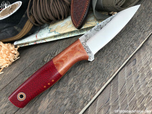 Fiddleback Forge Bear Paw - Ruby Burlap - Fiddleback Forge Handmade Knife