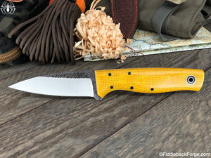 Fiddleback Forge Bear Paw - Sunshine Burlatex - Fiddleback Forge Handmade Knife