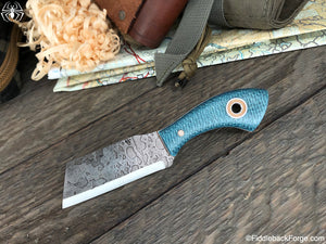 Fiddleback Forge Bow Legged Joe - Sapphire Burlap - SCANDI - Fiddleback Forge Handmade Knife