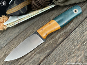 Fiddleback Forge Bush Hermit - Teal Denim Micarta