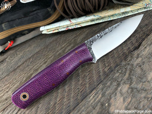Fiddleback Forge Bush Hermit - Plum Purple Burlap - Fiddleback Forge Handmade Knife