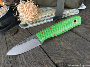 Fiddleback Forge Bush Hermit - Lime Burlatex - Fiddleback Forge Handmade Knife